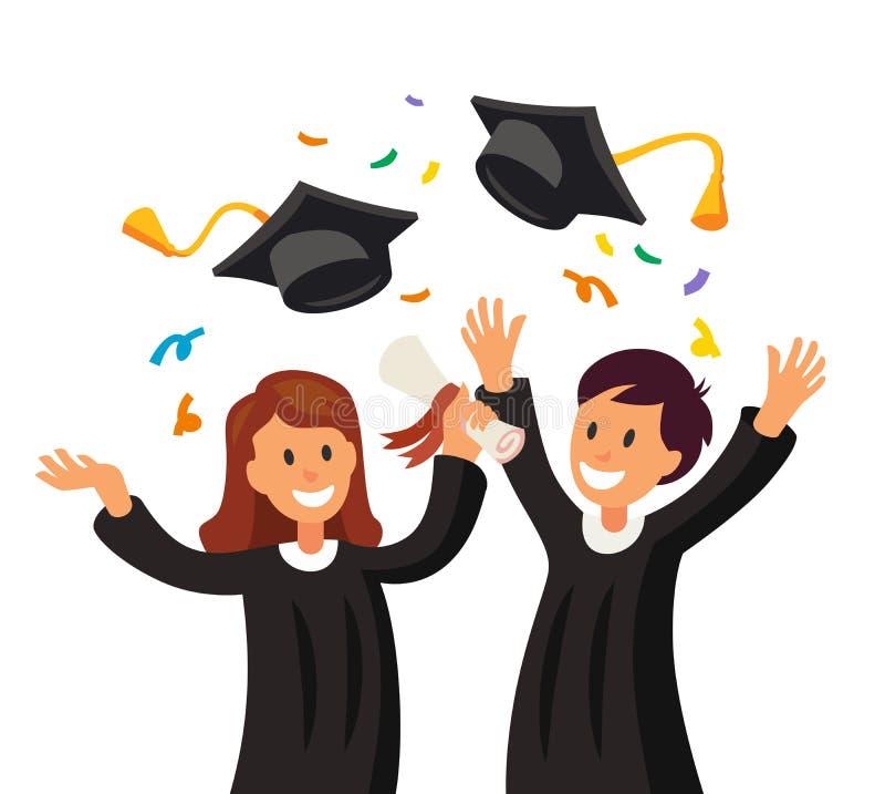Lycklig flicka och pojke som kastar deras avläggande av examenhattar i luften royaltyfri illustrationer