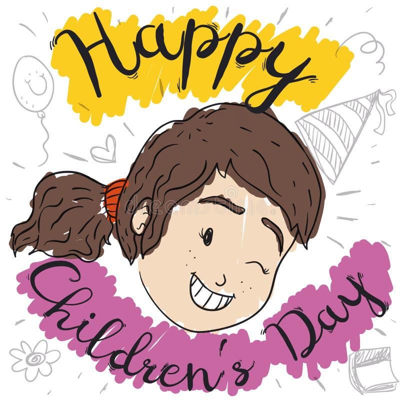 Lycklig flicka som blinkar på dig som firar dagen för barn` s med klotter, vektorillustration stock illustrationer