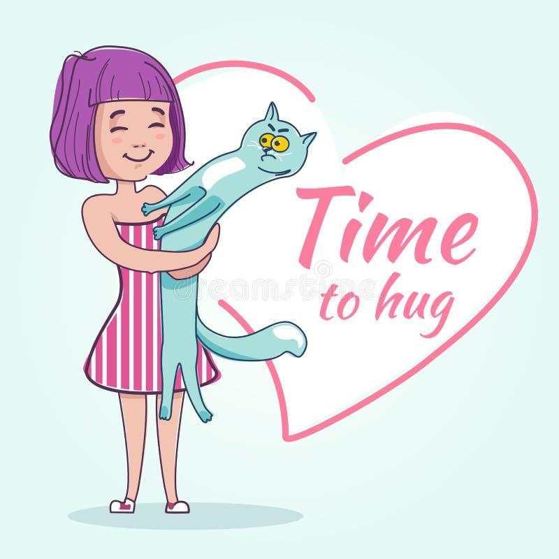 Lycklig flicka som kramar hennes katt royaltyfri foto