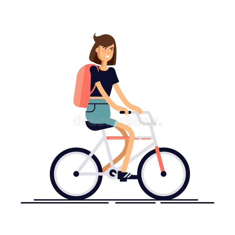 Lycklig flicka som rider en cykel också vektor för coreldrawillustration royaltyfri illustrationer