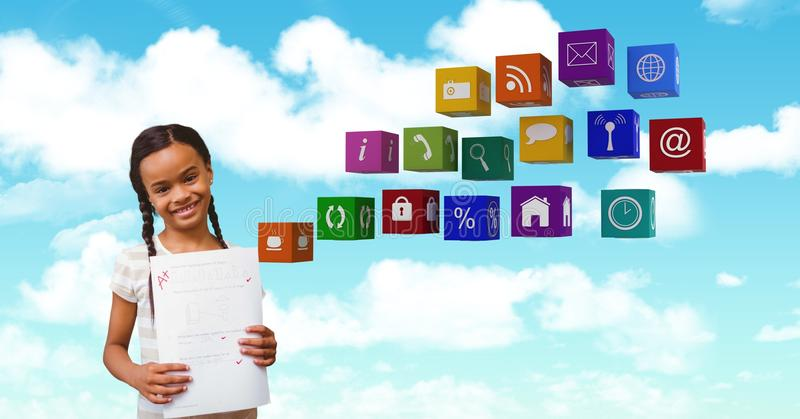 Lycklig flicka som rymmer A plus examenpapper vid applikationbakgrund fotografering för bildbyråer