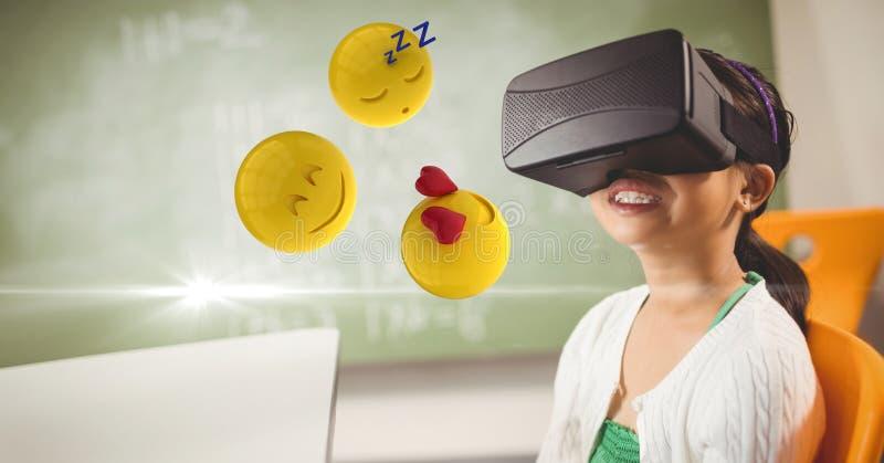 Lycklig flicka som ser emojis på VR-exponeringsglas royaltyfri illustrationer