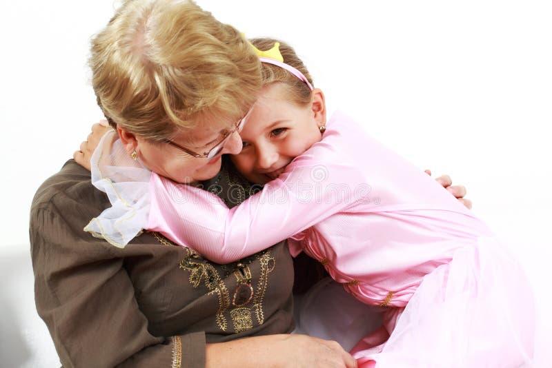 lycklig flickagranny royaltyfria bilder