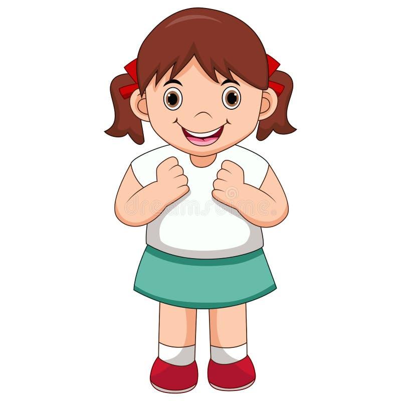 lycklig flickatecknad film royaltyfri illustrationer
