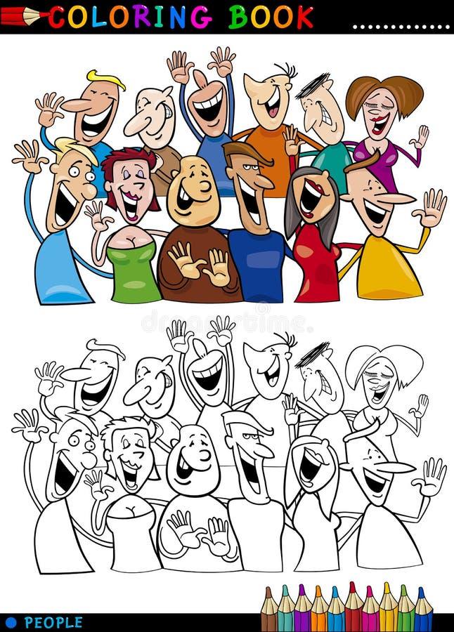 Lycklig folkgrupp för färgläggning stock illustrationer