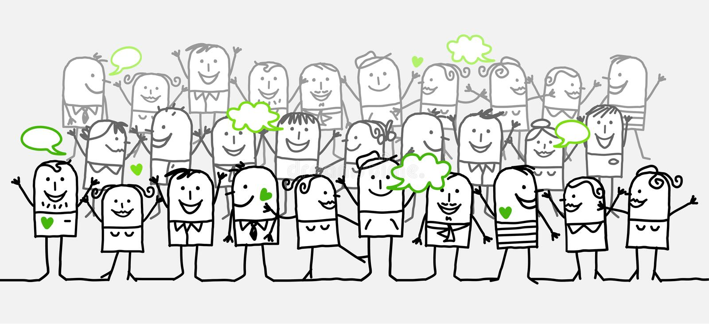 lycklig folkmassa vektor illustrationer