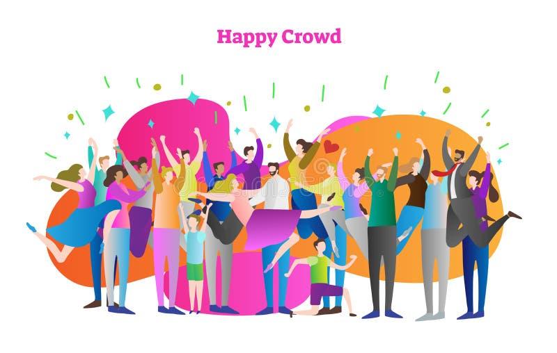 Lycklig folkmassavektorillustration Mannen och kvinnan med lyftta händer firar seger eller seger Lyckligt mänskligt konfettiparti vektor illustrationer