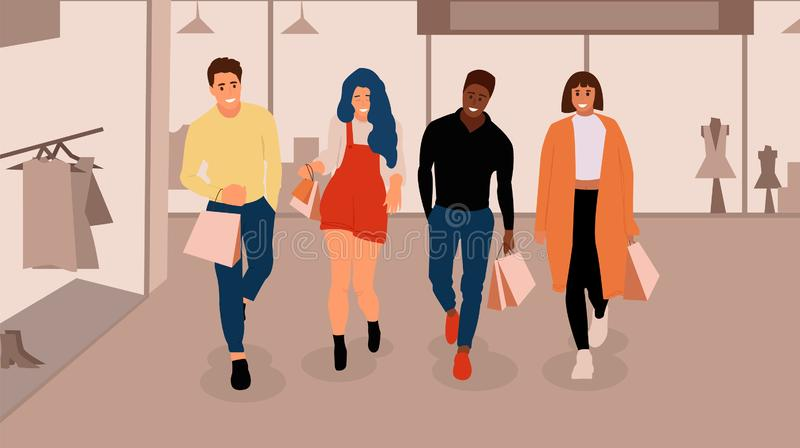lycklig folkshopping stock illustrationer