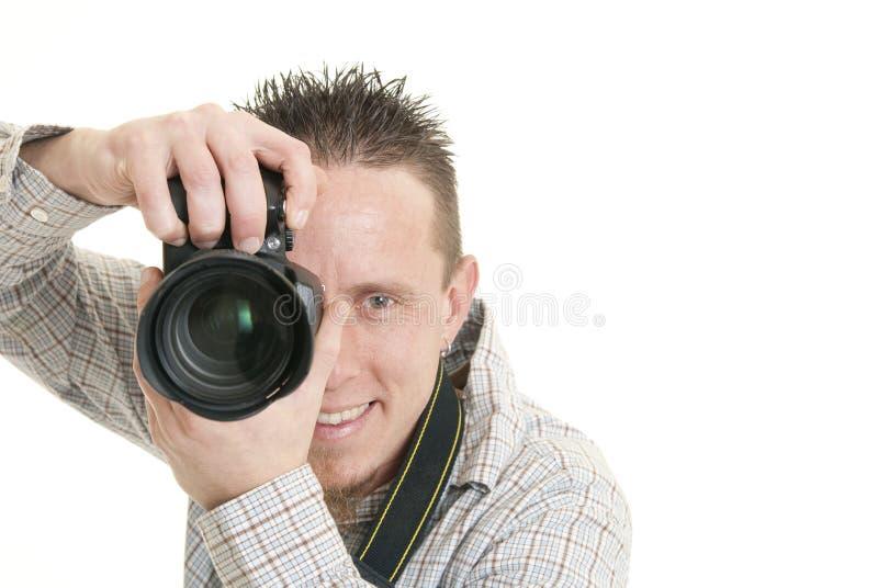 lycklig fotograf arkivfoton