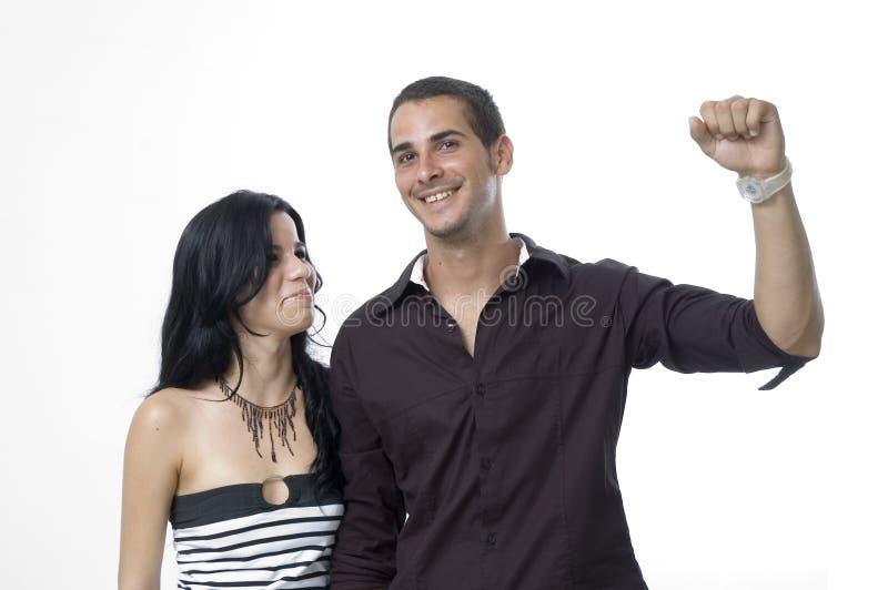 lycklig framgång för par royaltyfri foto