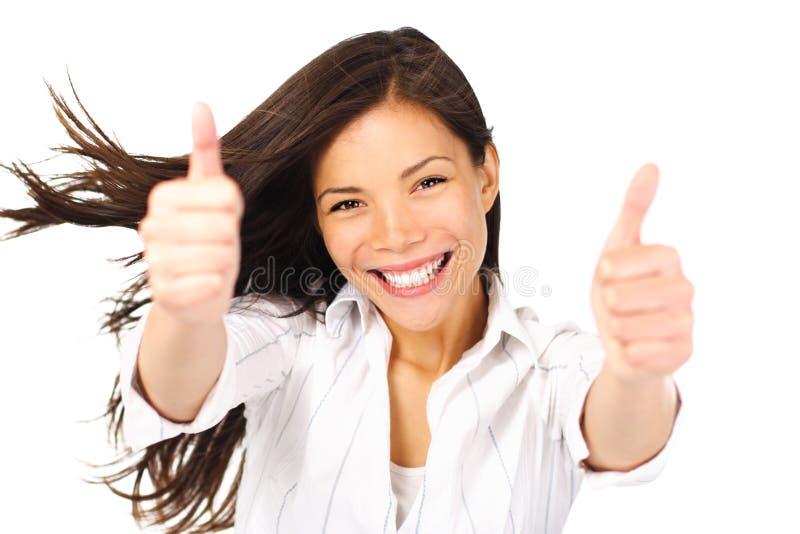 lycklig framgångsvinnarekvinna royaltyfri foto