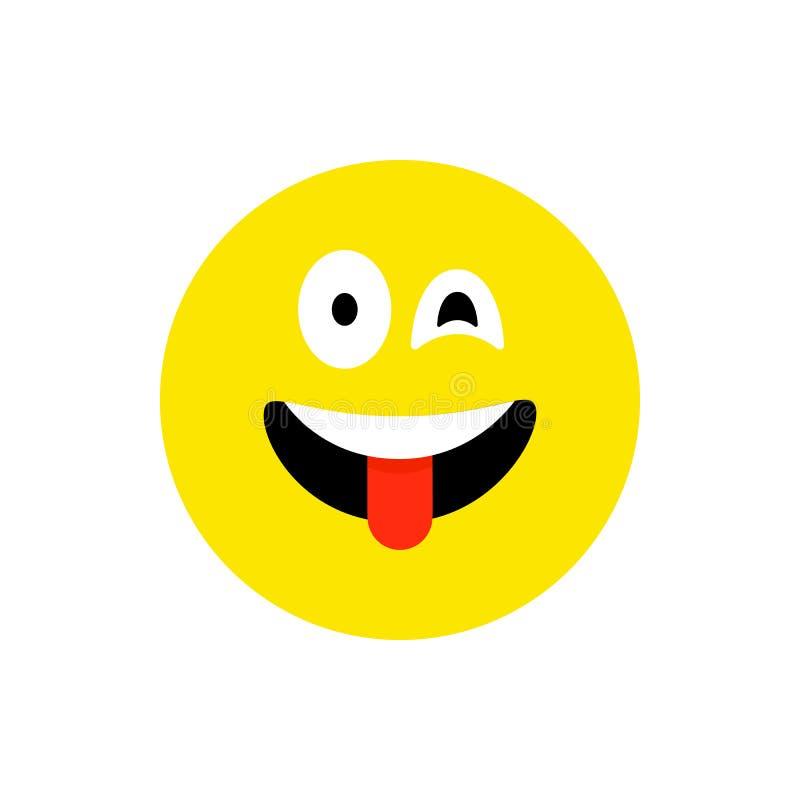 Lycklig framsida som ler emoji med den ?ppna munnen Plan stil f?r roligt leende Gulligt Emoticonsymbol Smiley skrattsymbol F?r mo royaltyfri illustrationer