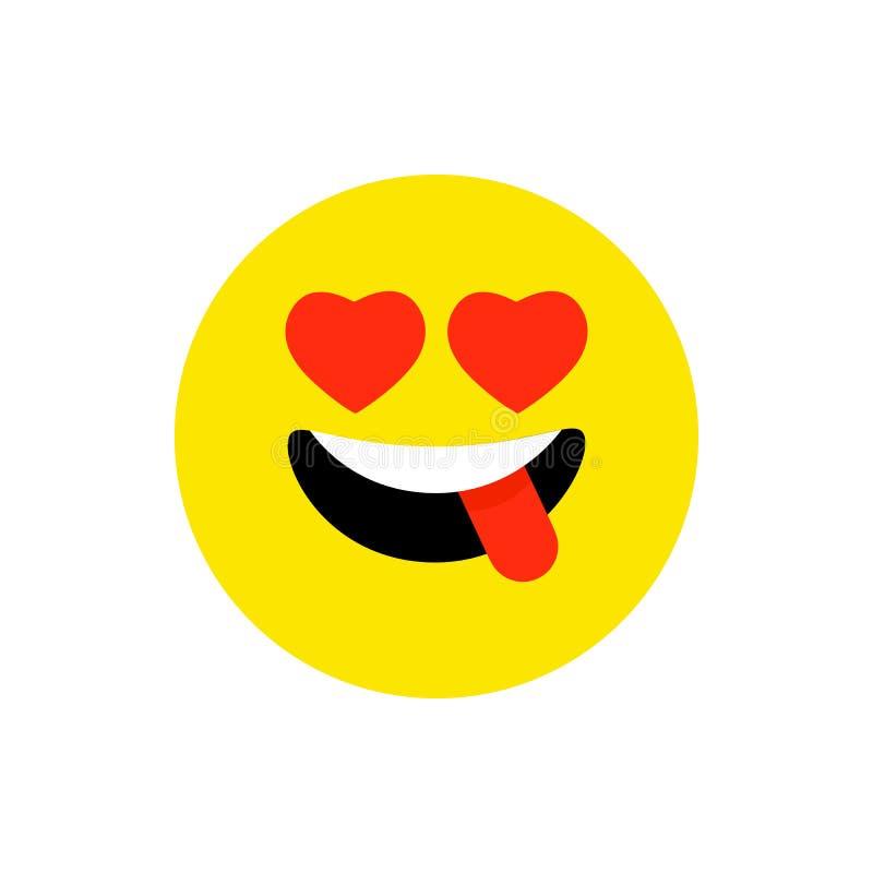 Lycklig framsida som ler emoji med den ?ppna munnen Plan stil f?r roligt leende Gulligt Emoticonsymbol Smiley skrattsymbol F?r mo vektor illustrationer