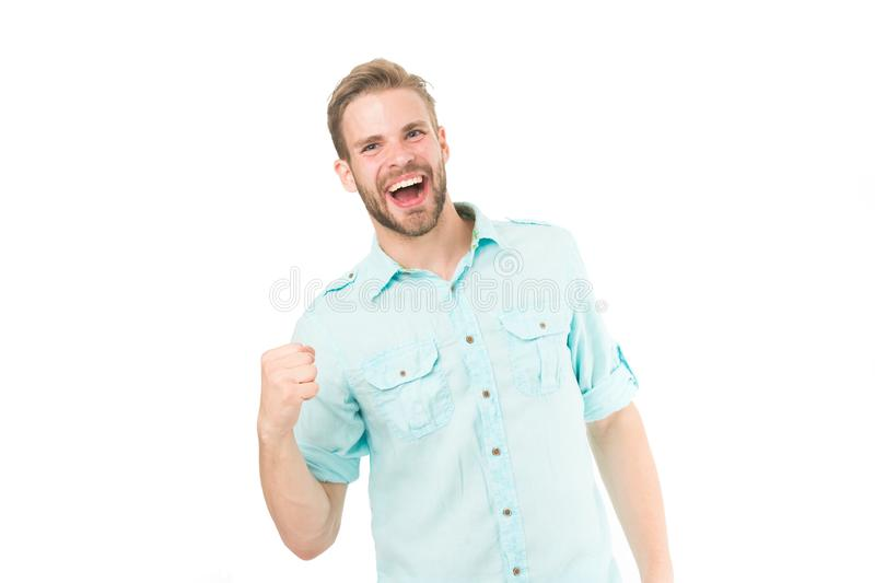 Lycklig fyndlösning för grabb Uppnå framgång Man med skägget som är lyckligt om lösning Fira det bra resultatet all lösning royaltyfria foton