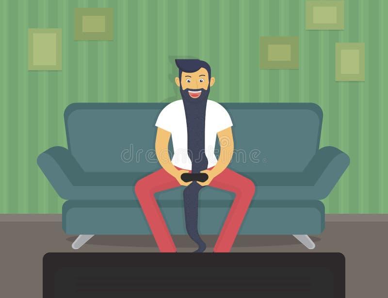 lycklig gamer stock illustrationer