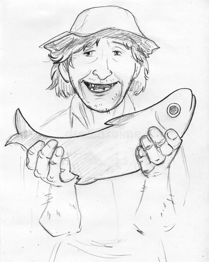Lycklig gammal fiskare med fisken - blyertspennan skissar arkivfoton