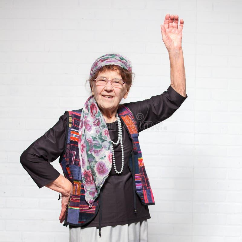 Lycklig gammal kvinnlig fotografering för bildbyråer