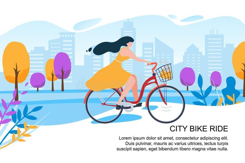 Lycklig gata för stad för cykel för ritt för tecknad filmflickacyklist vektor illustrationer