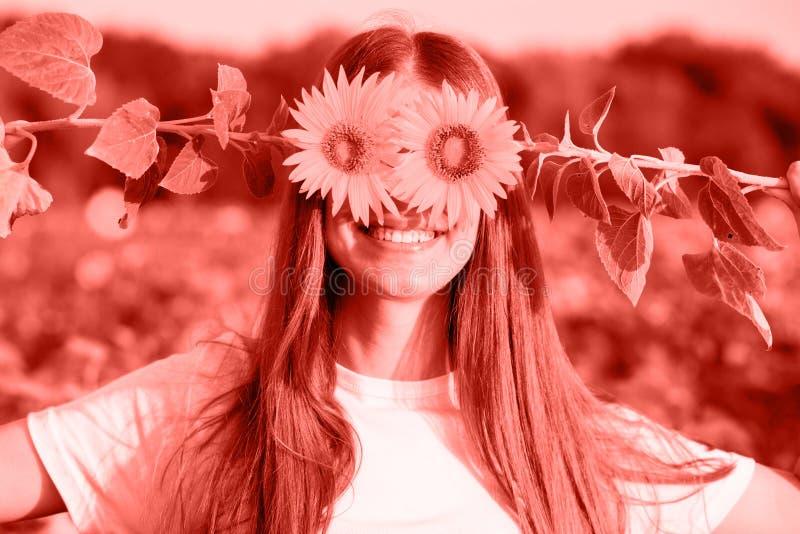 Lycklig glad flicka med solrosen som tycker om naturen och skrattar på sommarsolrosfältet som tonas i korallfärg fotografering för bildbyråer