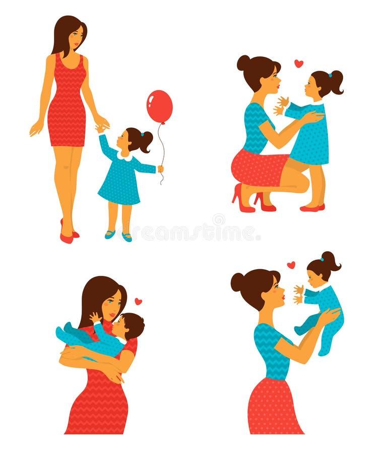 Lycklig gladlynt familj också vektor för coreldrawillustration vektor illustrationer