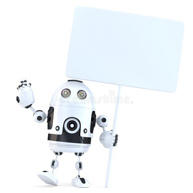 Lycklig gladlynt robot med det tomma brädet illustration 3d isolerat stock illustrationer