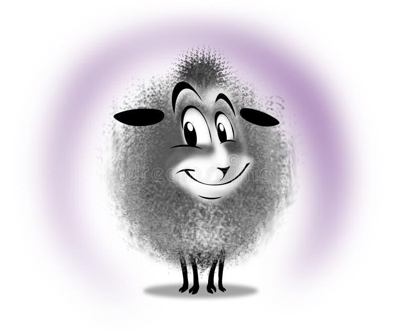 Lycklig gladlynt tecknad filmsinnesrörelse för lamm stock illustrationer