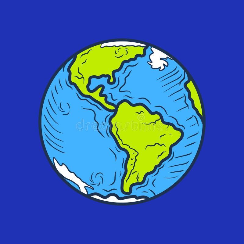 Lycklig global hjärtadagsymbol, hand dragen stil stock illustrationer