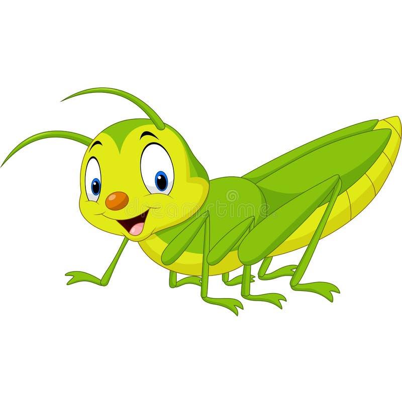 Lycklig gräshoppa för tecknad film stock illustrationer