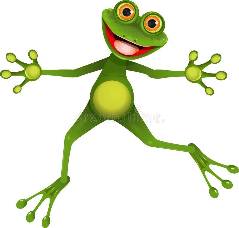 Lycklig grön groda royaltyfri illustrationer
