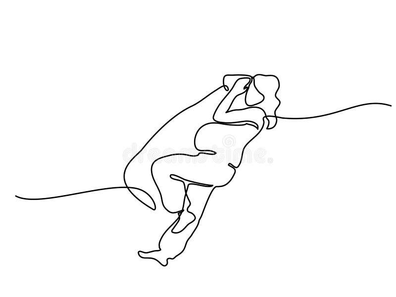 Lycklig gravid kvinna som sover med den speciala kudden stock illustrationer