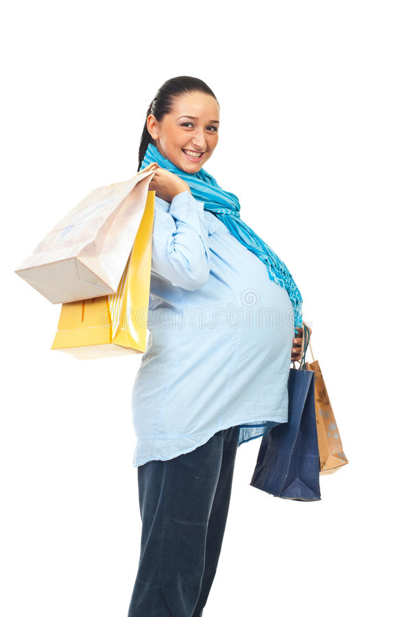 lycklig gravid profilshopping royaltyfri fotografi