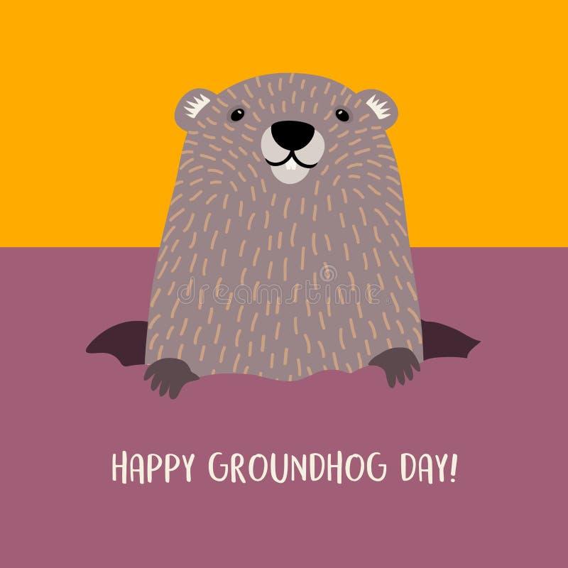 Lycklig groundhog för Groundhog dag som dyker upp från hans håla stock illustrationer