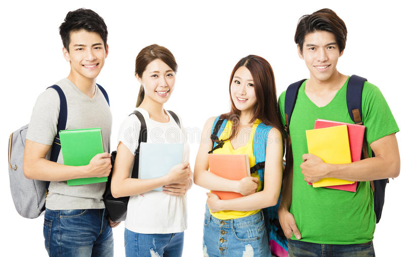 Lycklig grupp av högskolestudenterna på vit arkivfoton