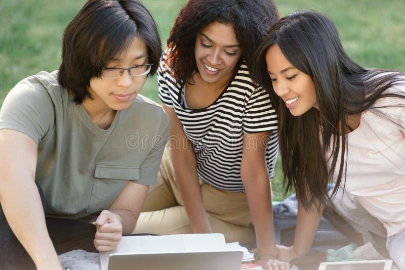 Lycklig grupp av multietniskt studera för studenter arkivfoton