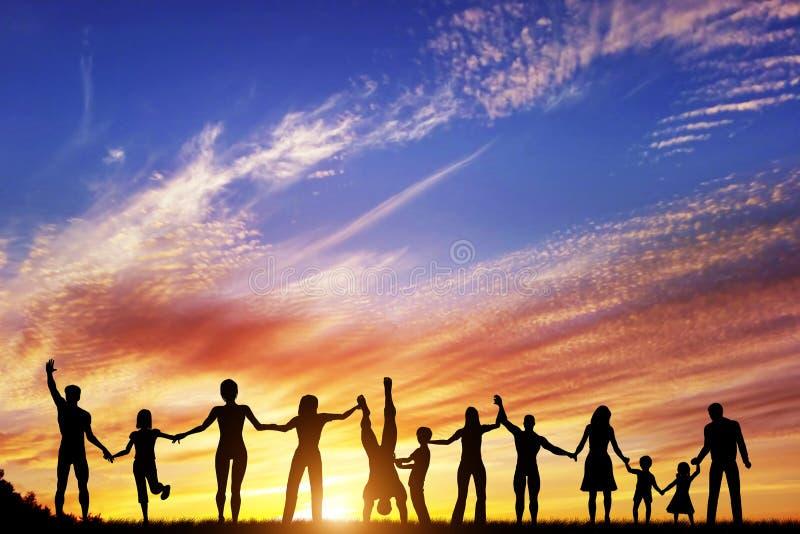 Lycklig grupp av olikt folk, vänner, familj tillsammans royaltyfri illustrationer