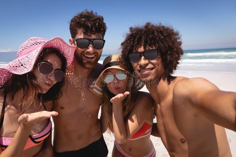 Lycklig grupp av vänner som ser kameran på stranden i solskenet royaltyfria foton