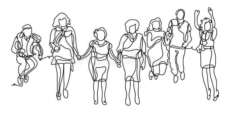 Lycklig grupp människorbanhoppning på en vit bakgrund Begreppet av kamratskap, sund livsstil Fortlöpande linje stock illustrationer