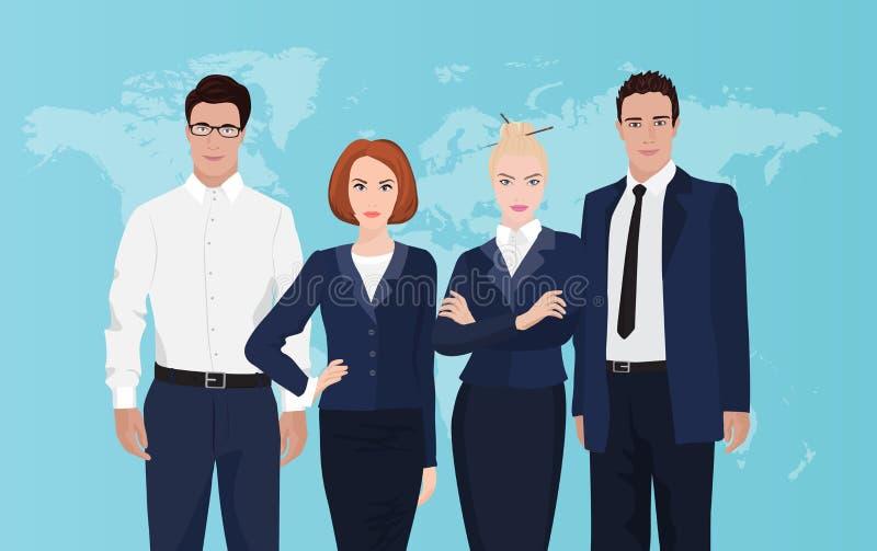 Lycklig gruppstående av ett yrkesmässigt affärslag på världskartabakgrund stock illustrationer