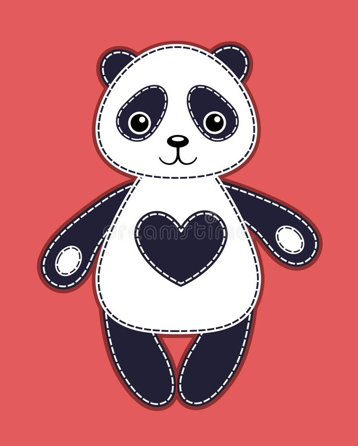 Lycklig gullig panda stock illustrationer