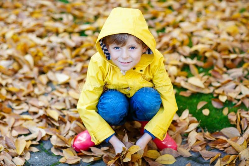 Lycklig gullig pojke för liten unge med höstsidor som spelar i trädgård royaltyfri fotografi