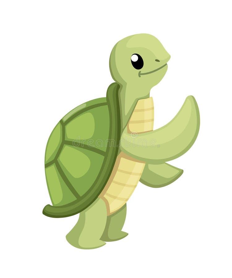 Lycklig gullig sköldpadda som går med leende Tecknad filmteckendesign Plan vektorillustration som isoleras på vit bakgrund vektor illustrationer