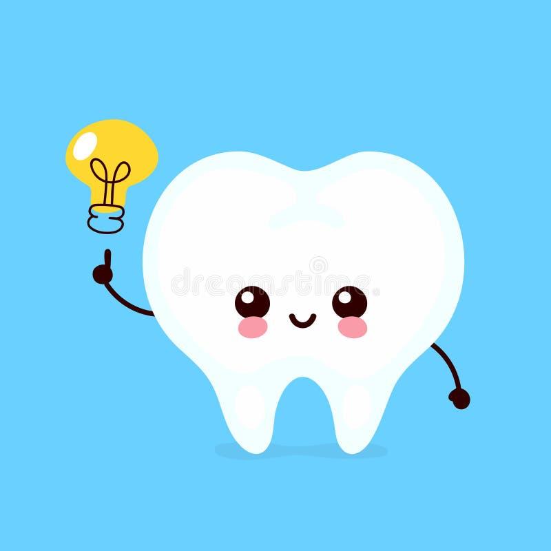 Lycklig gullig tand med lightbulbteckenet royaltyfri illustrationer