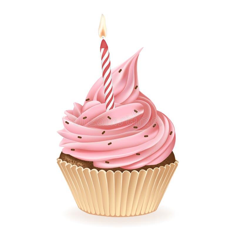 lycklig hälsning för födelsedagkortmuffin vektor illustrationer