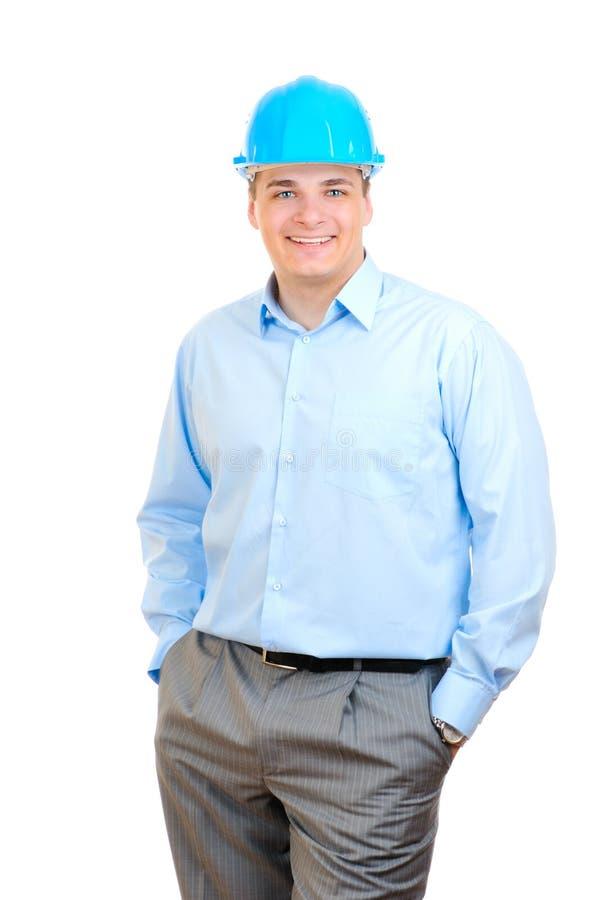 lycklig hård hatt för blå tekniker arkivfoton