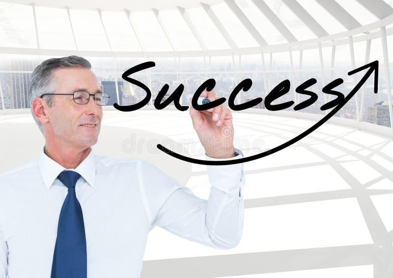 Lycklig hög affärsmanhandstil på skärmFRAMGÅNGEN (+arrow) Han är i kontoret arkivbilder