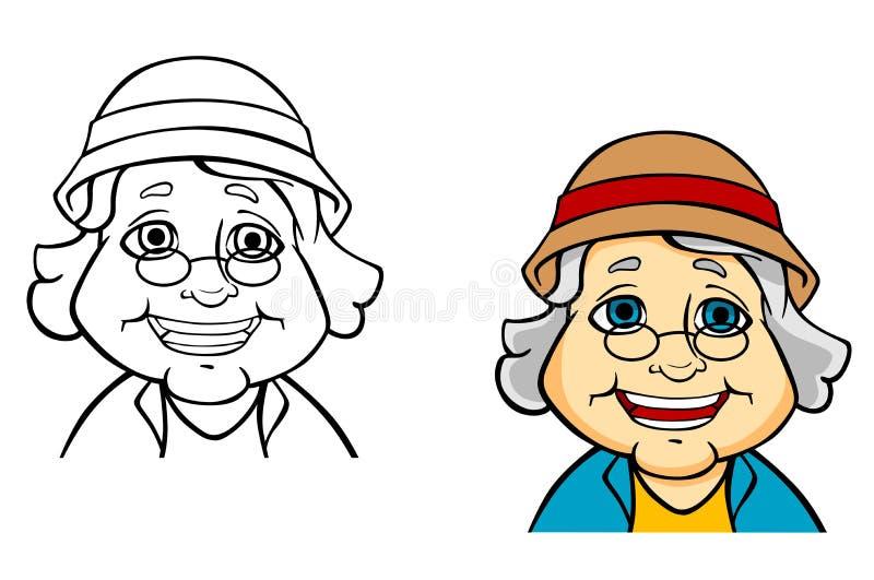 Lycklig hög farmor stock illustrationer