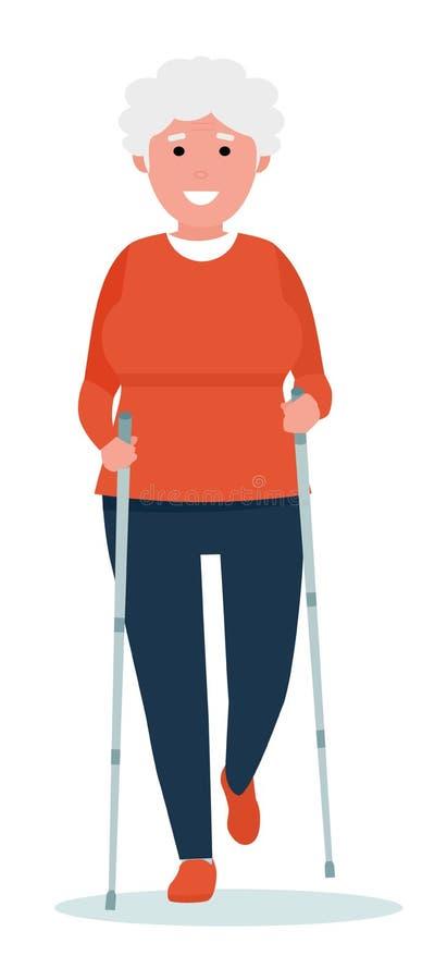 Lycklig hög kvinna som gör nordiskt gå också vektor för coreldrawillustration sund livsstil för begrepp Tecknad filmlägenhetstil vektor illustrationer