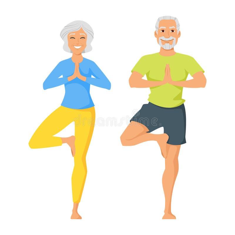 Lycklig hög man och kvinna som gör yoga royaltyfri illustrationer