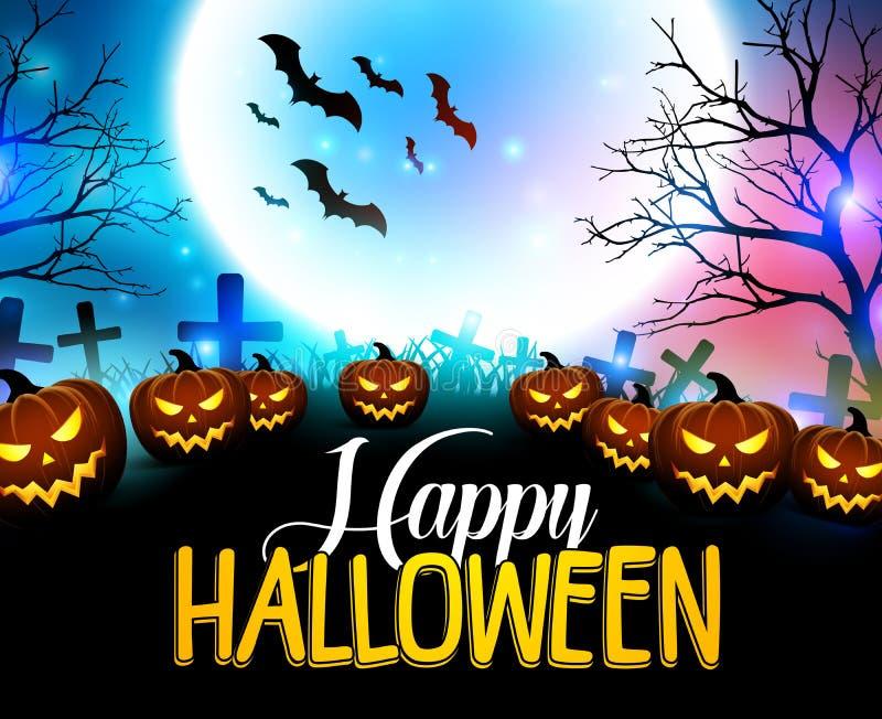 Lycklig halloween bakgrund med läskiga pumpor i kyrkogården stock illustrationer