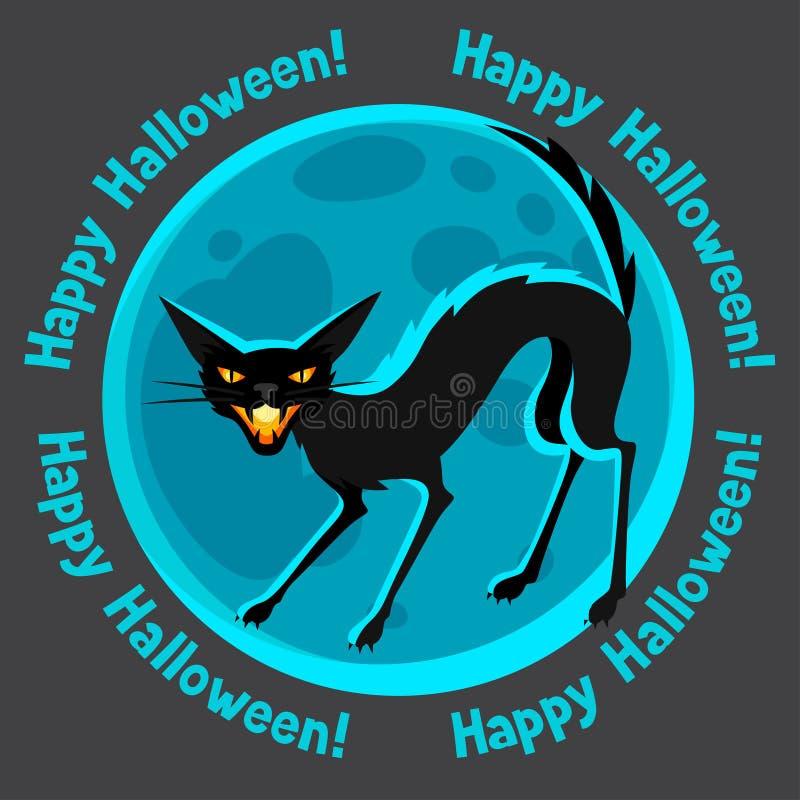 Lycklig halloween hälsningkort med månen och ilsket stock illustrationer